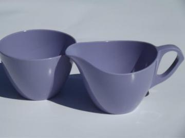 vintage violet purple melmac, retro Royalon melamine cream and sugar set
