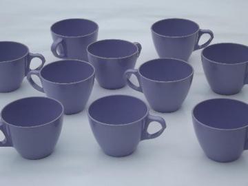 vintage violet purple melmac, retro Royalon melamine plastic cups