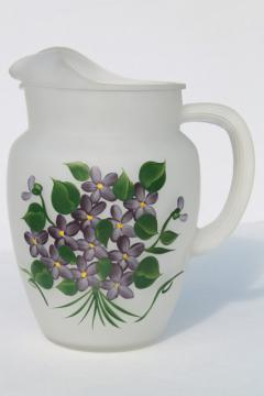 vintage violets glass lemonade / juice pitcher, Gay Fad hand-painted frosted glass
