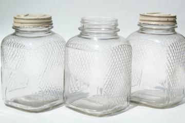 vintage waffle glass hoosier jars, old square glass canisters, antique coffee / tea jars