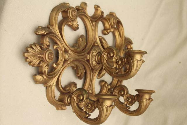 vintage wall mount candle holder, gold rococo plastic ornate sconce three light