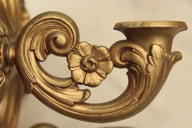 Vintage Wall Mount Candle Holder, Gold Rococo Plastic