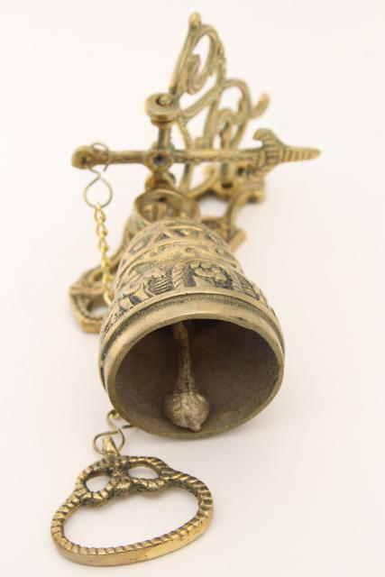 vintage wall mount doorbell or call bell, pull chain solid brass bell w/ hanging bracket