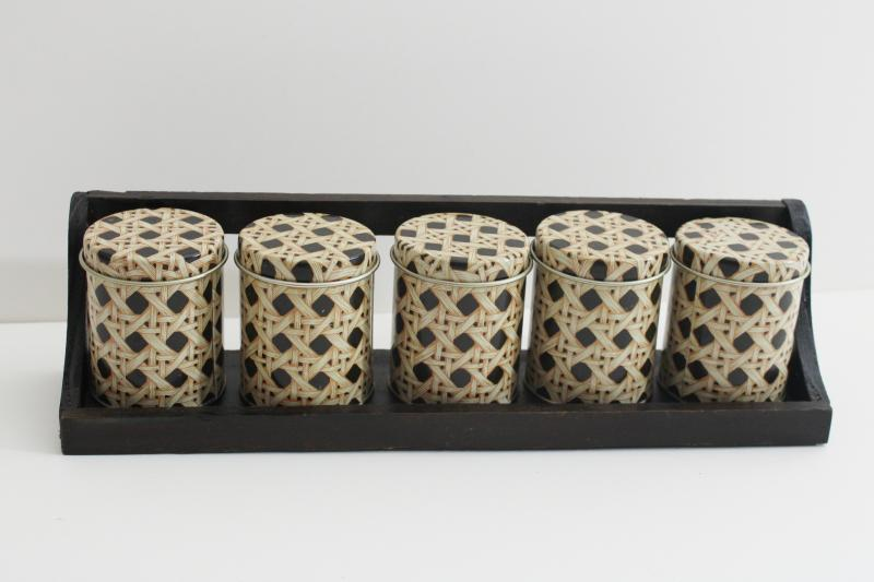 vintage wall mount spice rack w/ tiny tin canisters, cane print storage tins