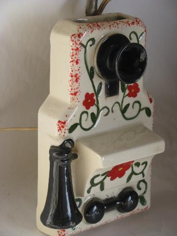vintage wall sconce lamp, antique wall box phone, hand-painted china