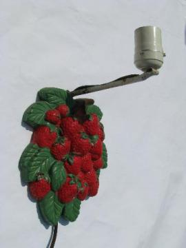 vintage wall sconce lamp, old red strawberries chalkware plaque