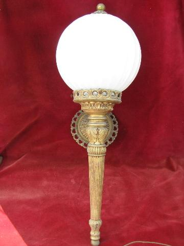 vintage wall sconce light, ornate gold torch lamp w/ glass globe shade