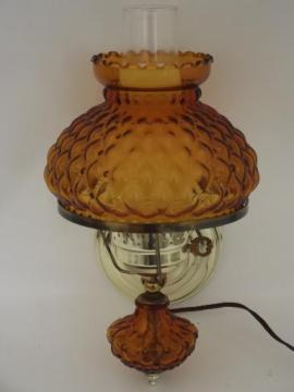 vintage wall sconce reading light, quilted amber glass lamp body and shade