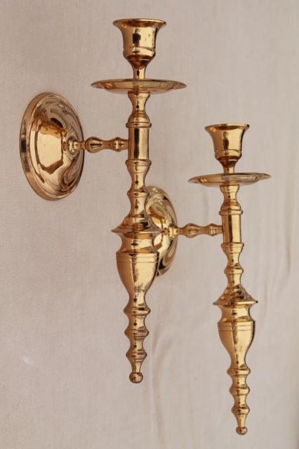 vintage wall sconce set, pair of polished solid brass candle sconces