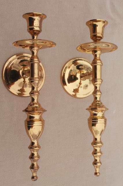 Vintage Wall Sconce Set Pair Of Polished Solid Brass