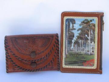 vintage wallet lot, tooled Mexican leather change purse, Palm Beach souvenir