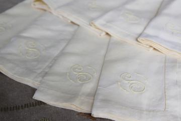vintage washed linen hemstitched napkins w/ embroidered S monogram, handkerchief linen fabric