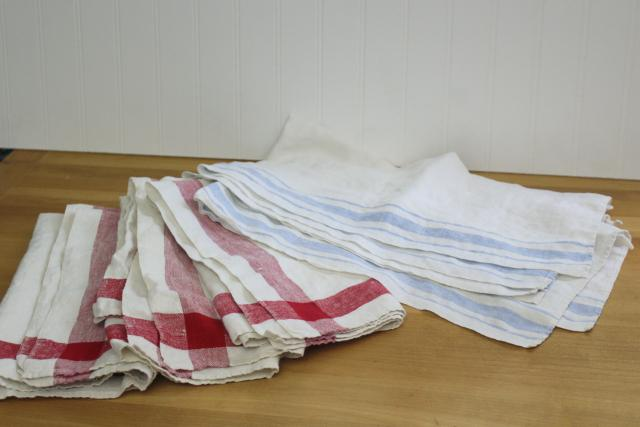 vintage washed linen kitchen towels & large napkins, red & blue w/ white