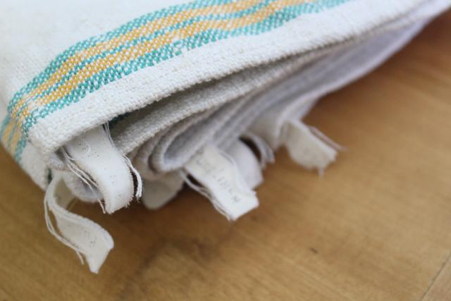vintage washed linen kitchen towels, soft thick dishtowels gold & jade green stripe