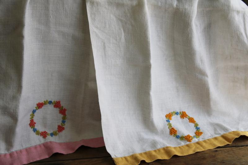vintage washed linen towels hand embroidered stitching french knots, bath or powder room