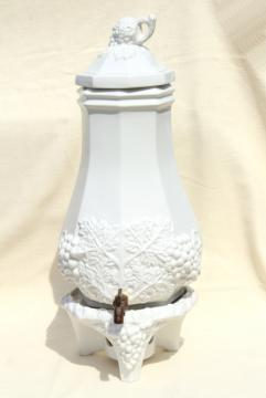 vintage water cooler dispenser carafe & stand, Red Cliff white ironstone china