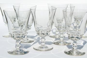 vintage water glasses, tulip goblets beaded ball bowl & stem, boule candlewick lookalike