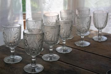 vintage water goblets or wine glasses, crystal clear iris & herringbone depression glass