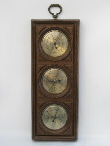 Vintage Weather Gauges Springfield Barometer Thermometer