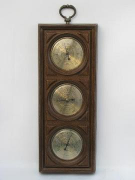 vintage weather gauges, Springfield barometer, thermometer, hygrometer