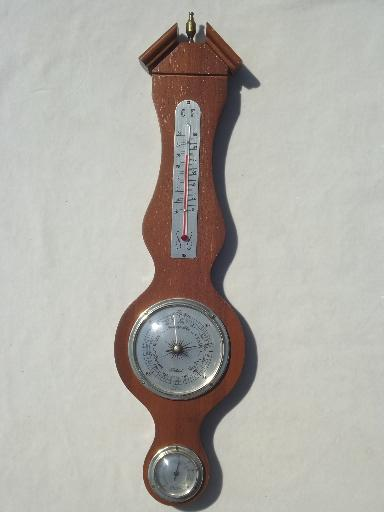 Vintage Weather Station Working Barometer Themometer