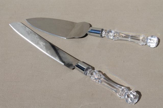 Vintage Wedding Cake Server Amp Knife Set W Sparkling Faux