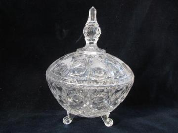 vintage wedding crystal, covered glass box, footed candy dish w/ finial