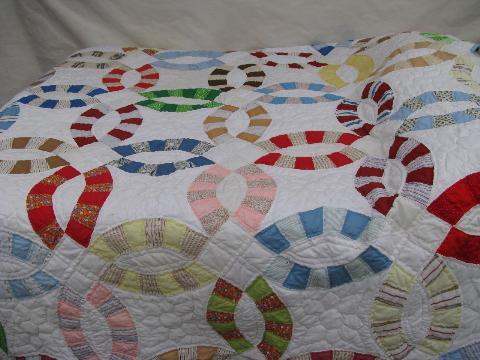 vintage wedding ring quilt cotton print patchwork blocks shabby