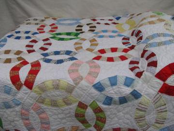 vintage wedding ring quilt, cotton print patchwork blocks, shabby primitive cutter fabric