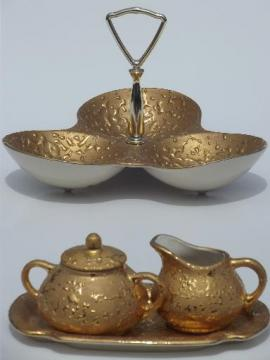 vintage weeping bright gold encrusted china candy dish, cream & sugar set