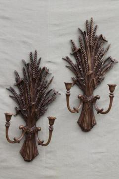 vintage wheat sheaf wall sconce set, pair of wheat sheaves candle sconces