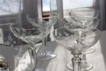 vintage wheel cut etched glass champagne glasses, Electra Arcadia fern & berry pattern