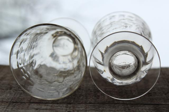vintage wheel cut etched glass footed tumblers w/ panel optic, Susquehanna crystal