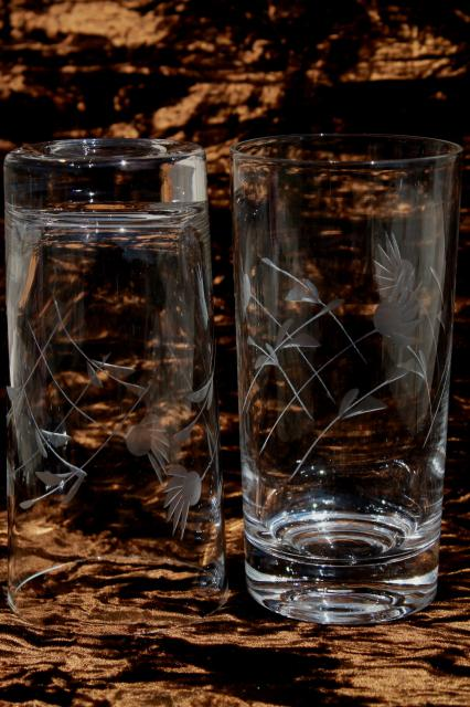 Vintage Wheel Cut Glass Tumblers Crystal Clear Drinking Glasses W Etched Mod Flowers