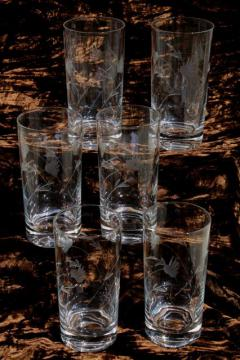 vintage wheel cut glass tumblers, crystal clear drinking glasses w/ etched mod flowers