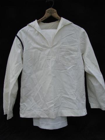 Vintage White Navy Sailors Uniform W Blue Shoulder Stripe