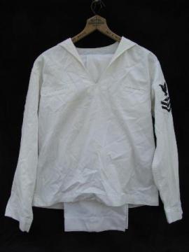 vintage white USN Aviation Machinist's Mate uniform w/crow patch