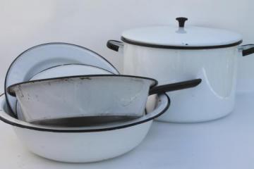 vintage white & black enamelware, enamel pots & pans, stockpot, kitchenware lot