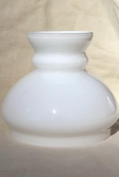 vintage white cased glass lampshade, small shade for student lamp or desk light
