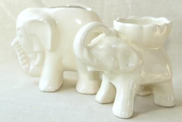 vintage white ceramic elephants, mid-century mod pottery planter pots