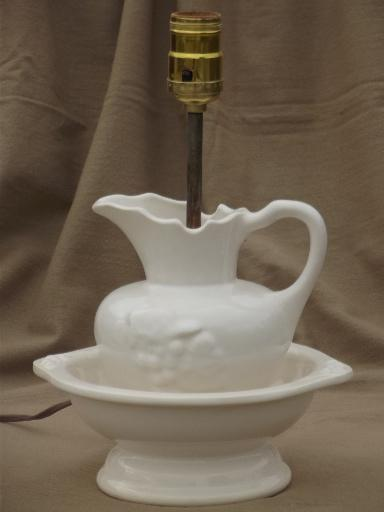 Vintage White China Wash Set Lamp Country Cottage Chic