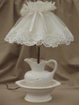 vintage white china wash set lamp, country cottage chic boudoir lamp w/ lace shade