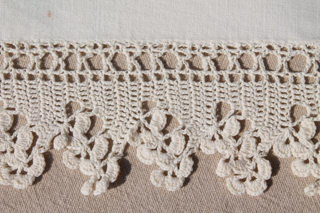 vintage white cotton flat top sheet & pillowcases w/ handmade crochet lace edgings