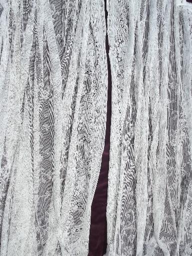 vintage white cotton lace curtains pair long floor length
