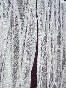 vintage white cotton lace curtains, pair long floor length flat panels