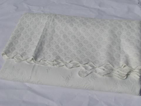 vintage white cotton matelasse bed cover bedspread for four-poster bed
