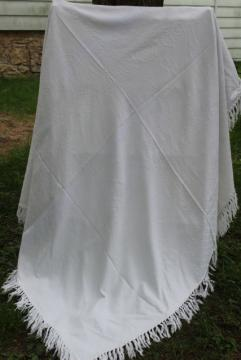 vintage white cotton matelasse texture shawl fringe throw or table cover cloth