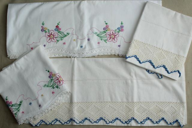 vintage white cotton pillowcases w/ crochet lace & embroidered flowers