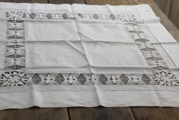 vintage white cotton tea table cloth with drawn thread embroidery lace insertion