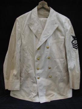 vintage white double-breasted Navy uniform jacket w/pants